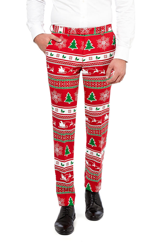 Red Ugly Christmas Sweater Pattern Suit for Men