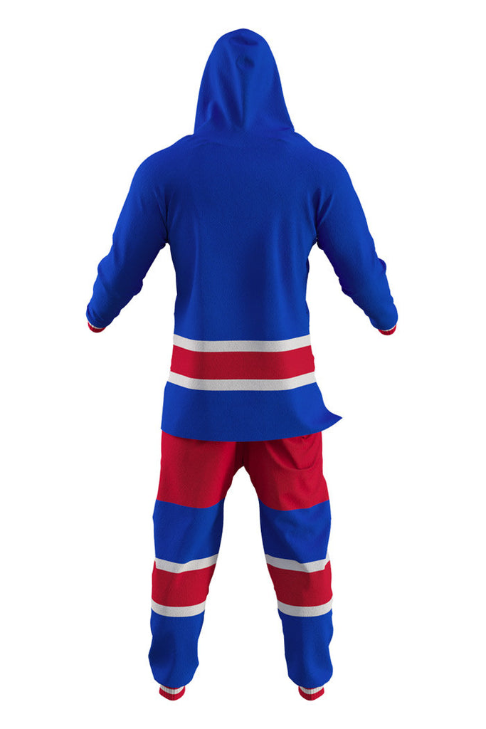 7902a99b1 New York Rangers Adult Onesie Rear View - Shinesty