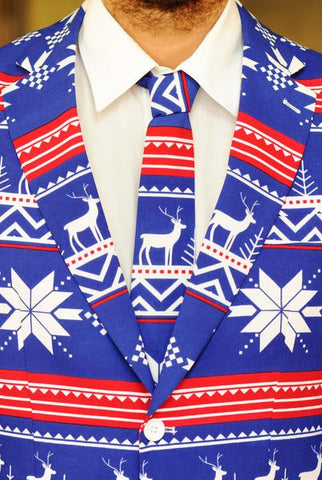 The Rudolph Suave Ugly Christmas Sweater Fair Isle Reindeer Tie - Shinesty