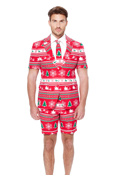 Men's Red Christmas Short Suit