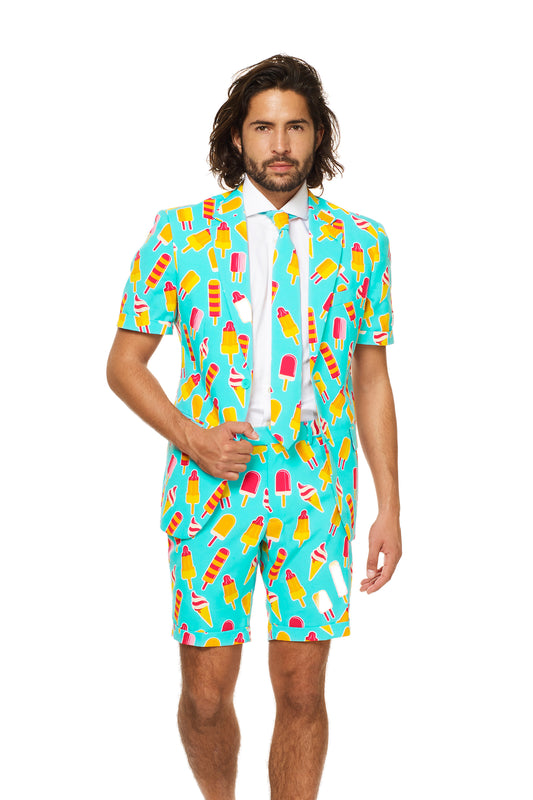Popsicle Print Short Sleeve Teal Suit