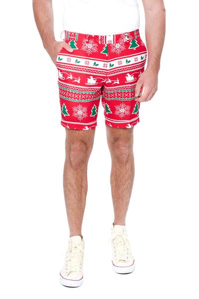 Red Ugly Christmas Sweater Shorts by Opposuits