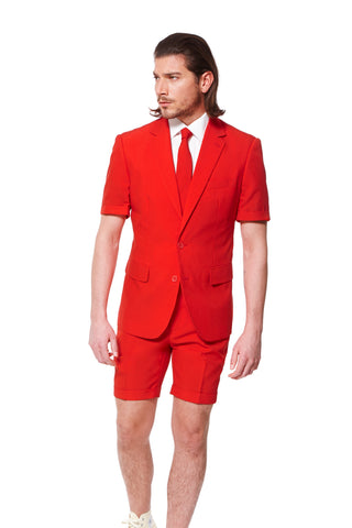 Short Sleeve Red Suit Jacket and Shorts