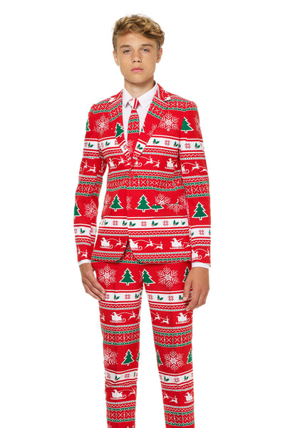 Red Christmas Suits For Teenage Guys
