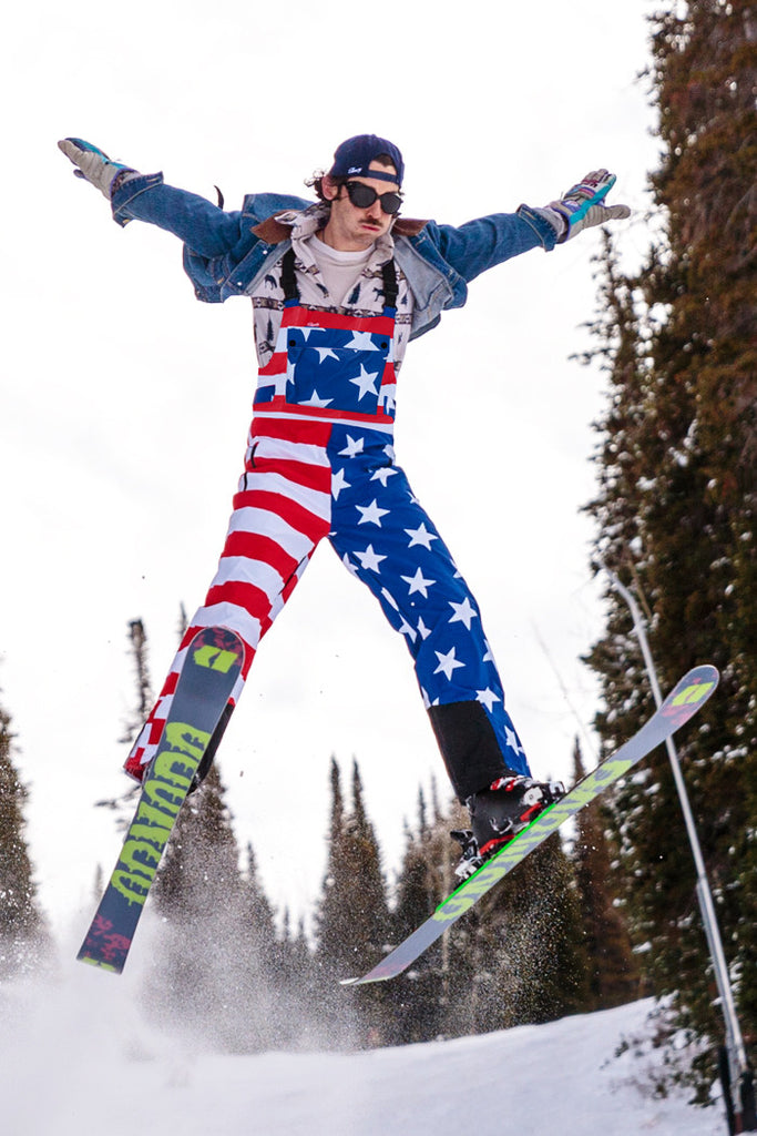 Pre-Order - How's Your Aspen American Flag Ski Bibs - Delivery January 2017 - Shinesty