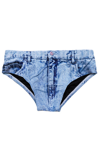 The Assid Washers Faux-Denim Swim Brief