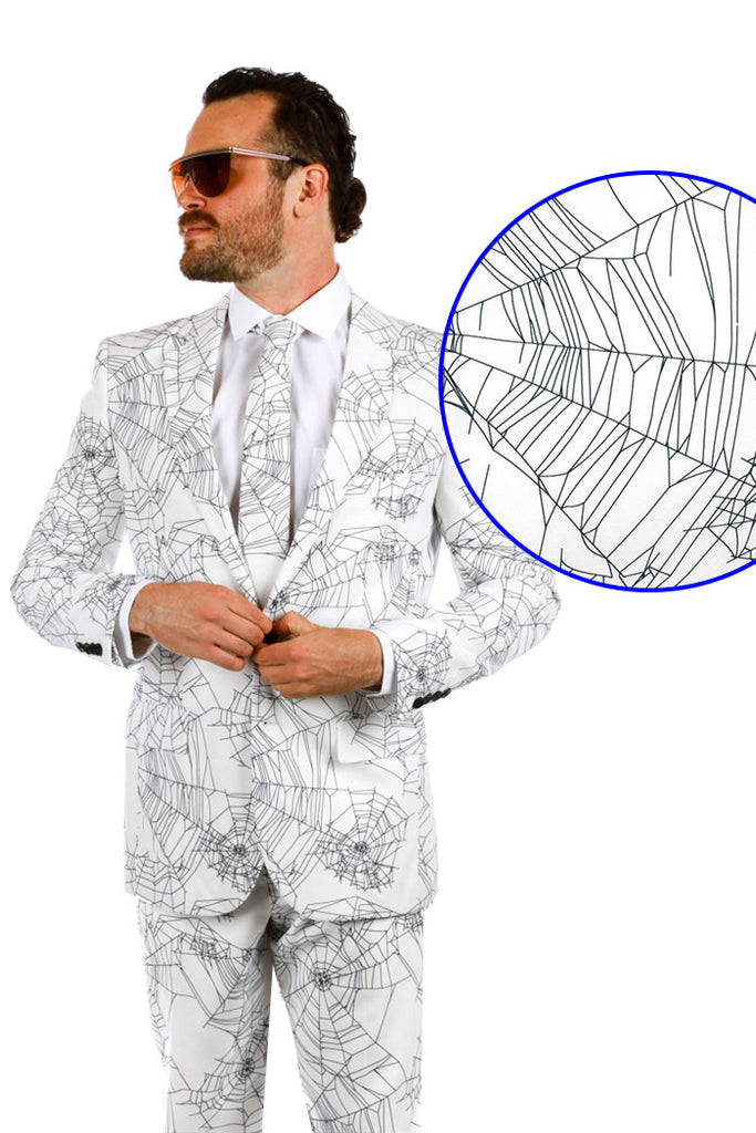 Mens Halloween Suit Spiderwebs