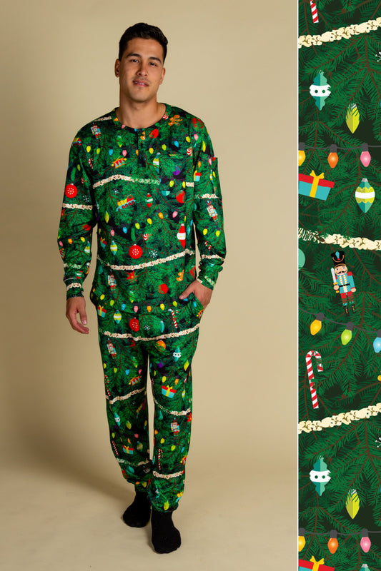 Men's Christmas Tree Print PJs