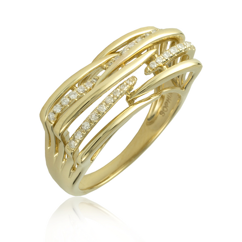 Horizontal Rows Yellow Gold Diamond Ring