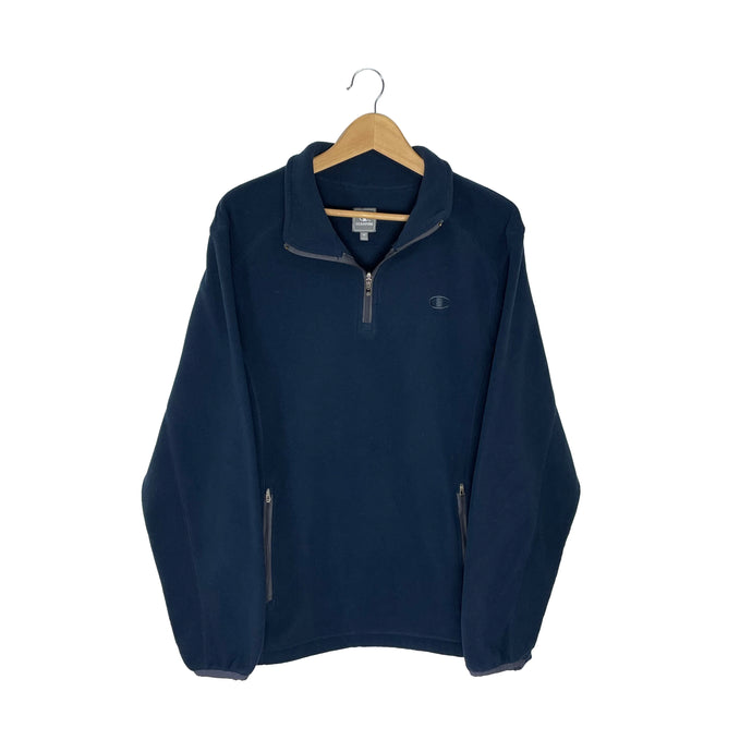 Champion Tonal Logo 1/4 Zip Fleece Sweatshirt - Men's Medium