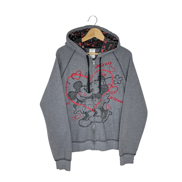 Disney Mickey and Minnie Zip Up Hoodie - Women's Large