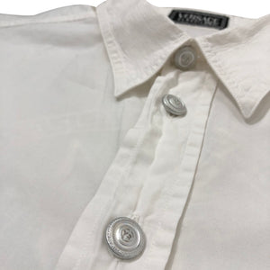 Vintage Versace Classic V2 Embroidered Logo Button-Up Shirt - Men's XL