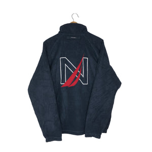 Vintage Nautica Big Logo Reversible Fleece Jacket - Men's Large