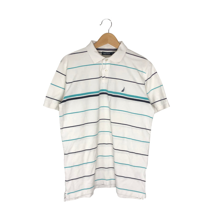 Nautica Striped Rugby Polo Shirt - Men's Large