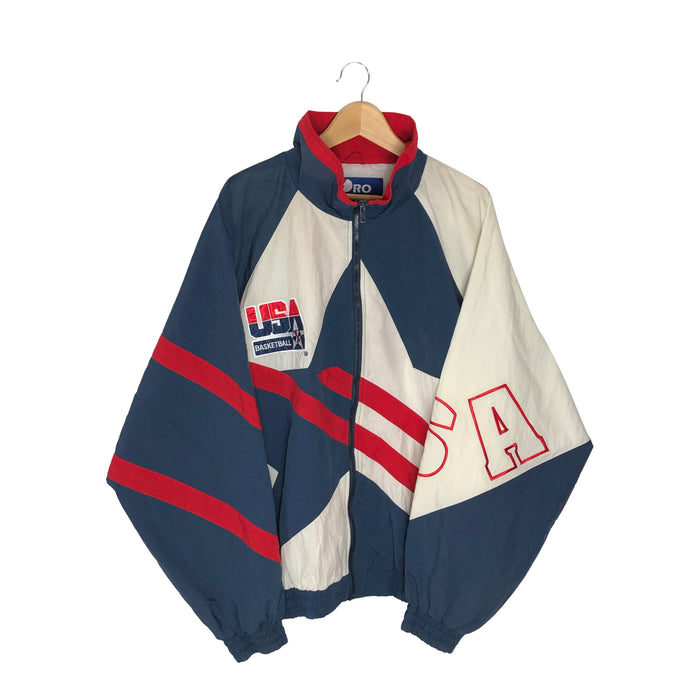Vintage 1995 Pro Player USA Basketball Colorblock Windbreaker - Men's 3XL