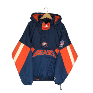 Vintage Starter Chicago Bears 1/2 Zip Insulated Pullover Jacket - Men's XXL