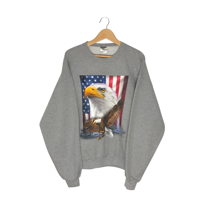 Vintage American Flag Eagle Pullover Graphic Sweatshirt - Women's XL