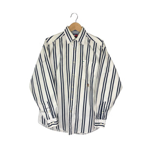 Vintage Tommy Hilfiger Striped Button-Down Shirt - Men's Medium