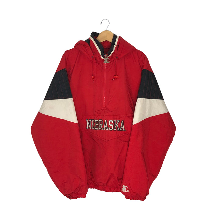 Vintage Starter Nebraska Huskers 1/4 Zip Insulated Pullover Jacket - Men's XL