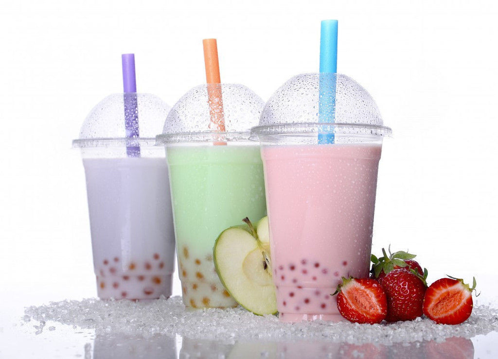 100 Sets 20 oz PET Plastic CLEAR Cup & Dome Lid Iced Coffee BUDDHA BUBBLES BOBA
