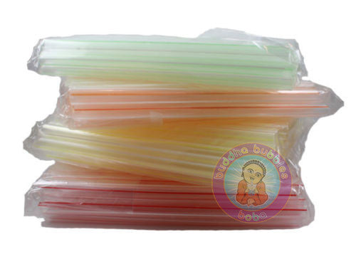 "8"" 80 pc Extra Wide Fat Drinking Straws Clear w/ Color Stripe Boba Bubble Tea"