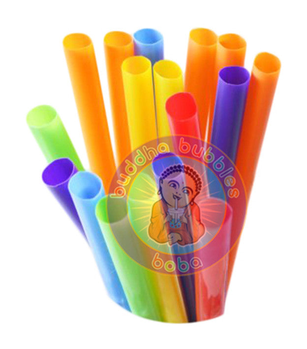 "9"" 80 pc Extra Wide Fat Drinking Straw Solid Color Boba Bubble Tea"