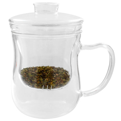 Glass Tea Cup with defuser and Lid ~URBAN MONK TEAS~