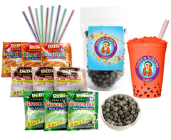 9 Drink DeDe Instant Boba Tea Drink Kit 9 Mixed Packets, Straws & Boba Thai Tea, Milk Tea & Green Tea Latte