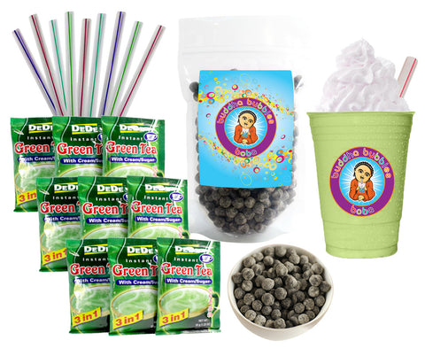 DeDe Instant Boba Tea Kit 9 Drink Packets, Straws & Boba Green Tea Latte Frap