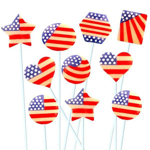 July 4th marzipops marzipan star candy lollipops