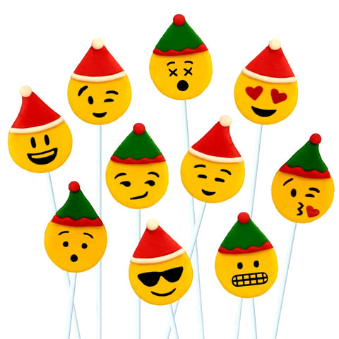 christmas emoji with Santas and elves marzipan candy lollipops