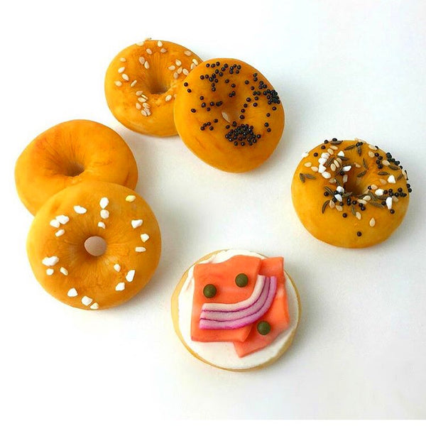 mini bagels with poppy, sesame and lox marzipan candy sculpture treats