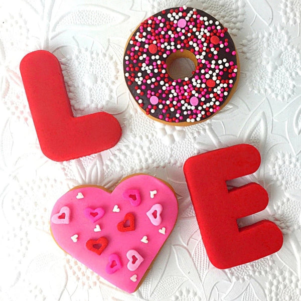 Valentine's Day love donuts doughnuts marzipan candy sculpture treats tilted