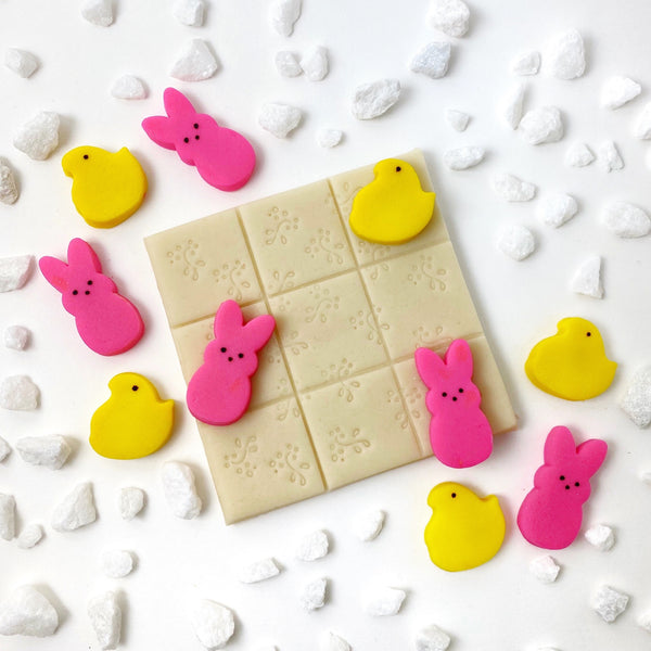 Easter bunny chick tic tac toe marzipan candy treats close up