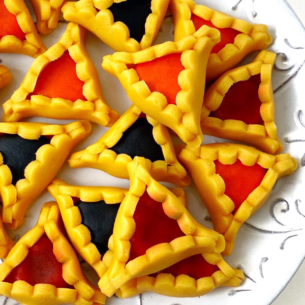 Purim vegan gluten-free purim hamantaschen marzipan candy sculpture treats