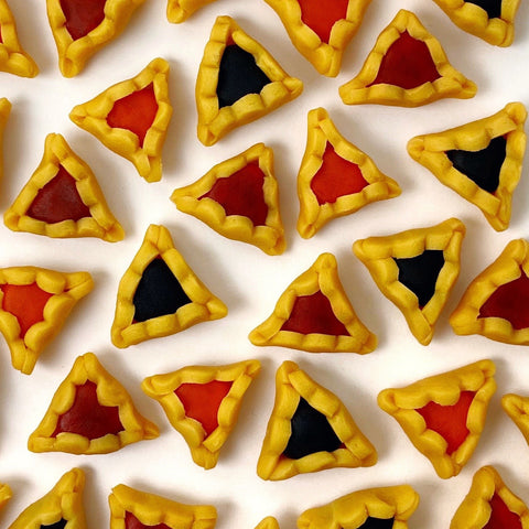Purim vegan gluten-free hamantaschen mini marzipan candy bites closeup