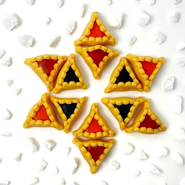 Purim vegan gluten-free purim hamantaschen marzipan candy sculpture treats in a star