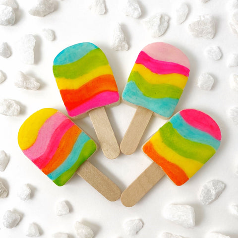 tropical rainbow ice popsicles marzipan candy lollipops with real sticks set of four