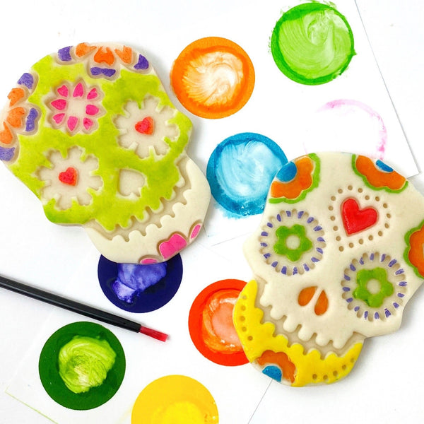 paint your own sugar skull marzipan candy treats pair