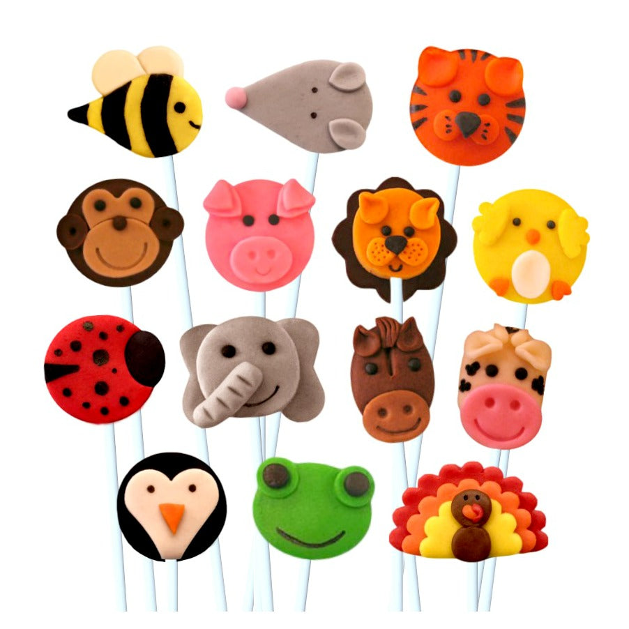 animal menagerie assorted marzipan candy lollipops