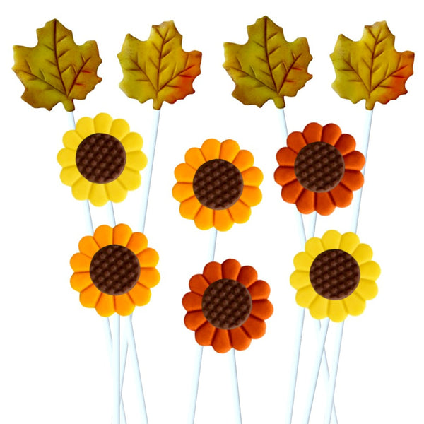 Thanksgiving autumn sunflowers and maple leaves marzipan candy lollipops