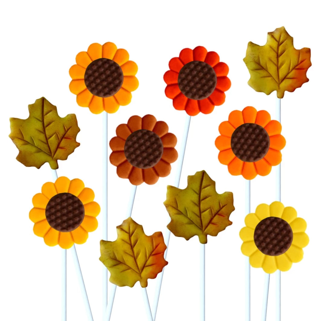 Thanksgiving autumn maple leaves and sunflowers marzipan candy lollipops