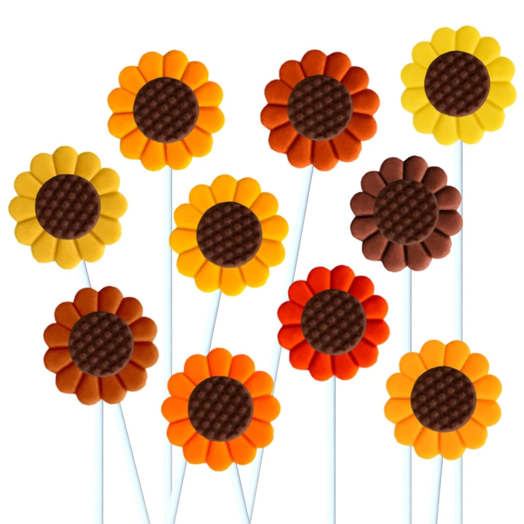 autumn sunflowers marzipan candy lollipops
