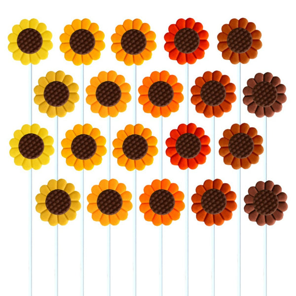 fall and autumn sunflowers marzipan candy lollipops