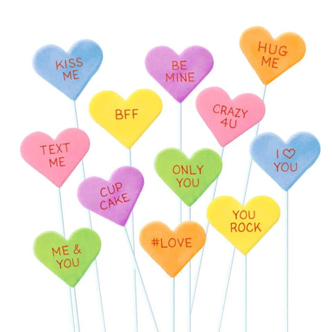 Valentine's Day conversation hearts marzipan candy lollipops