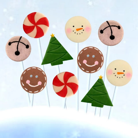 Christmas happiness marzipan candy lollipops