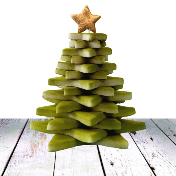 Christmas tree marzipan candy sculpture treat with gold star ornament