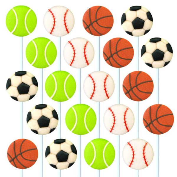 assorted sports in a grid marzipan candy lollipops