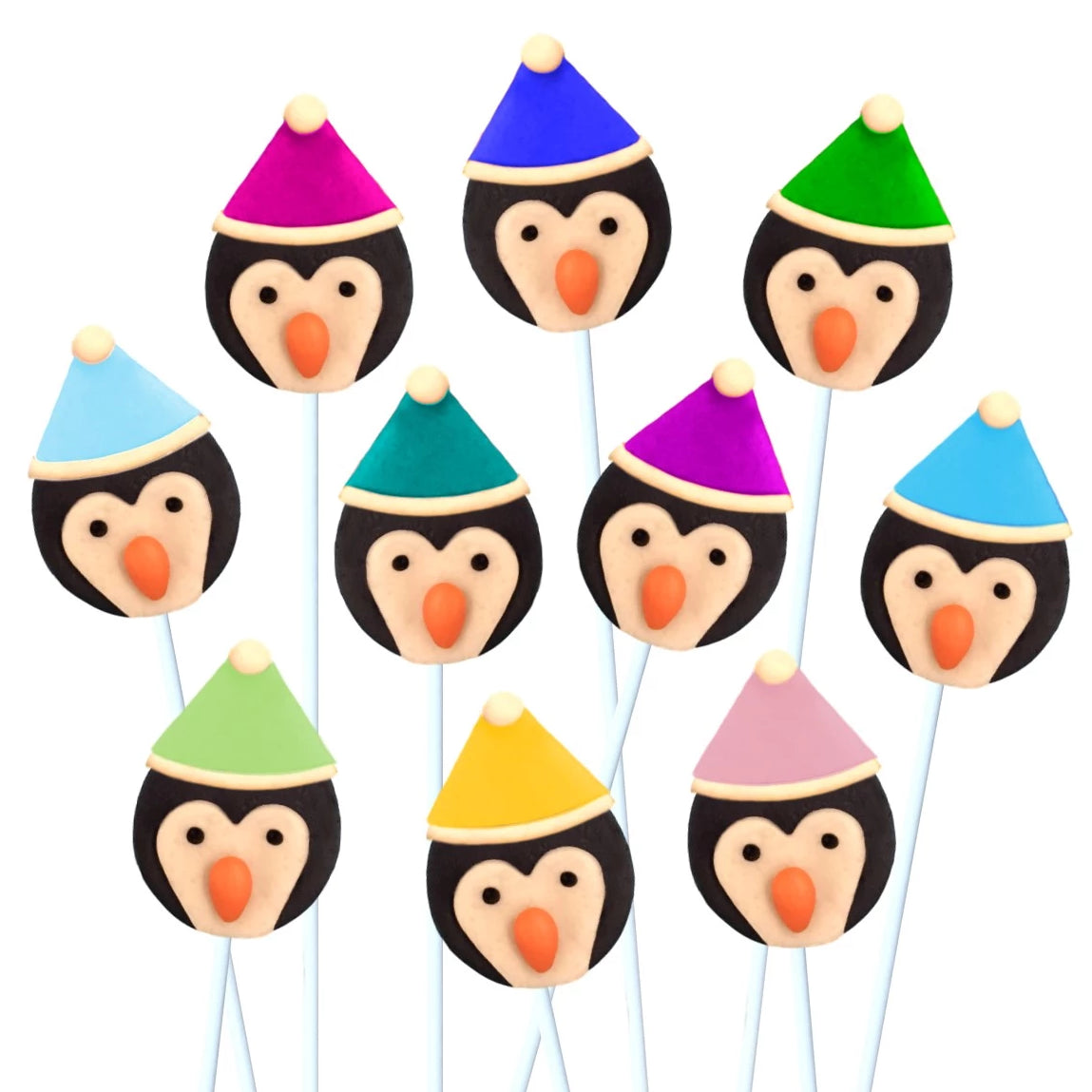 colorful penguins with hats marzipan candy lollipops