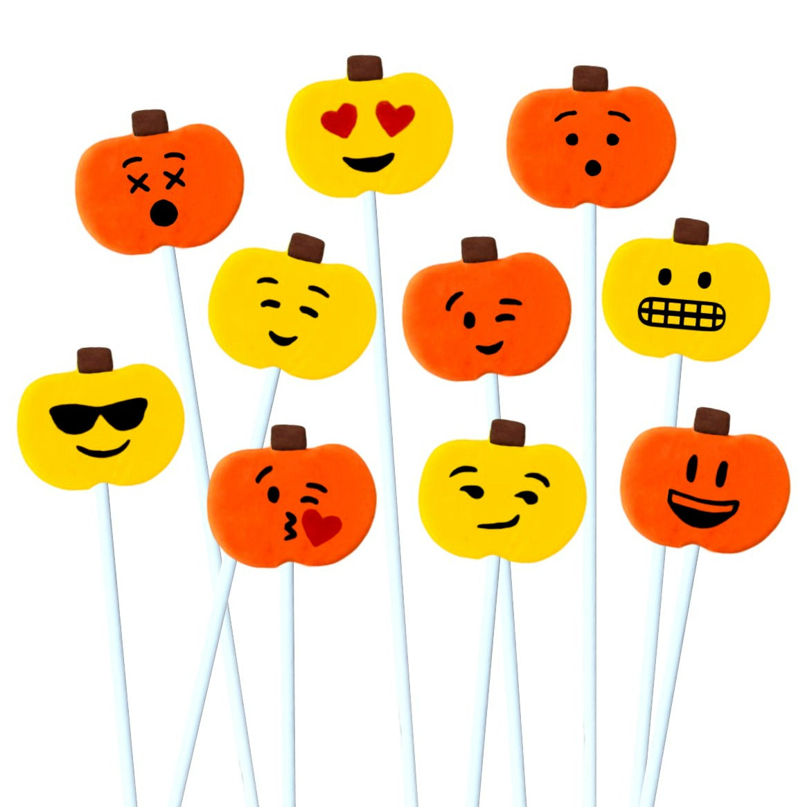 Thanksgiving yellow and orange emoji pumpkins marzipan candy lollipops
